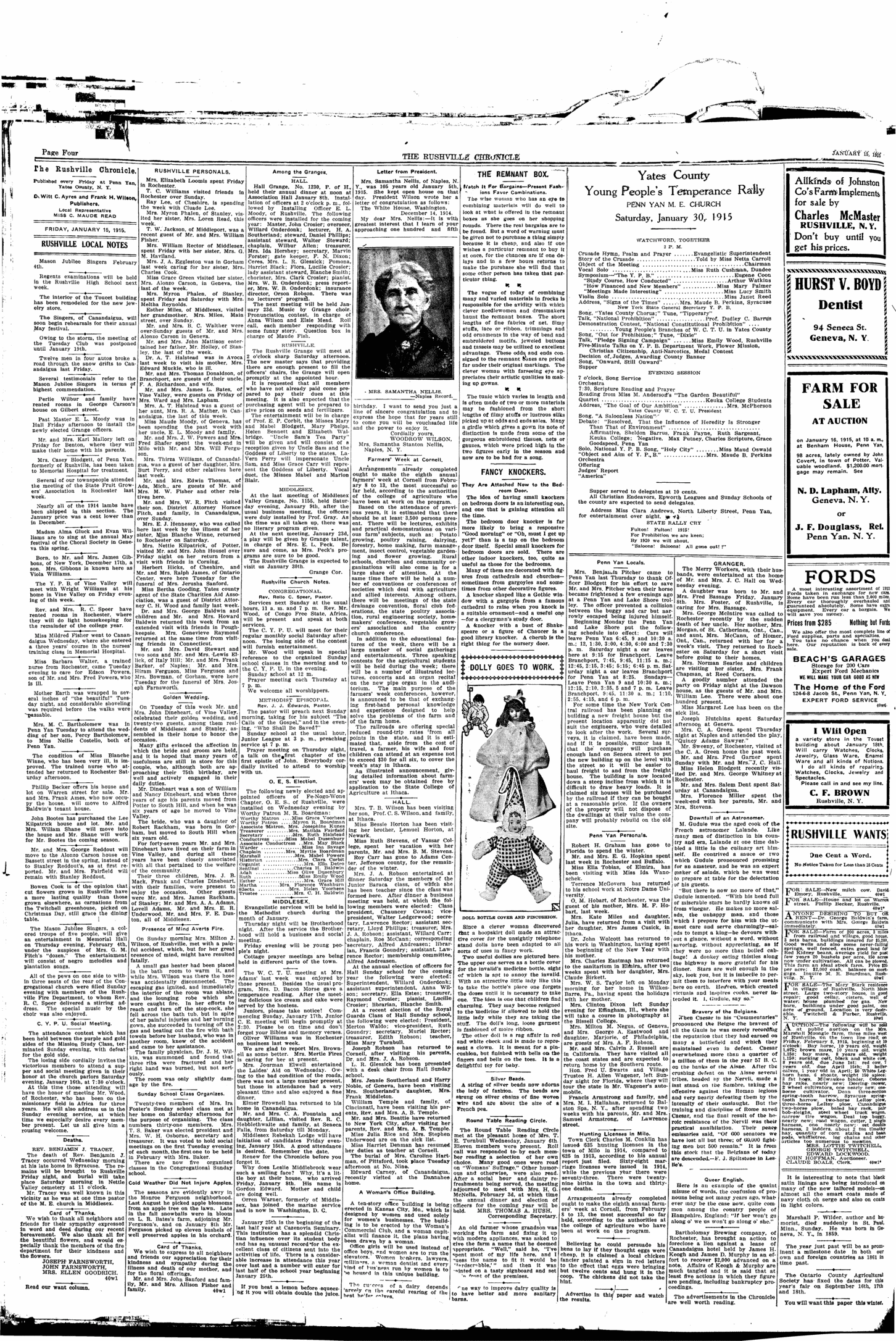 The Rushville chronicle  (Rushville, N Y